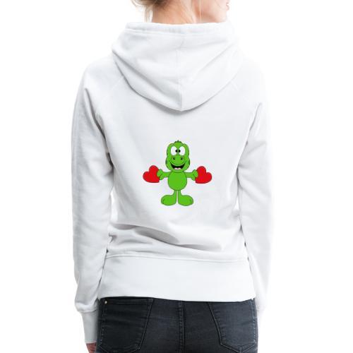 Lustiger Gecko - Echse - Herzen - Liebe - Love - Frauen Premium Hoodie