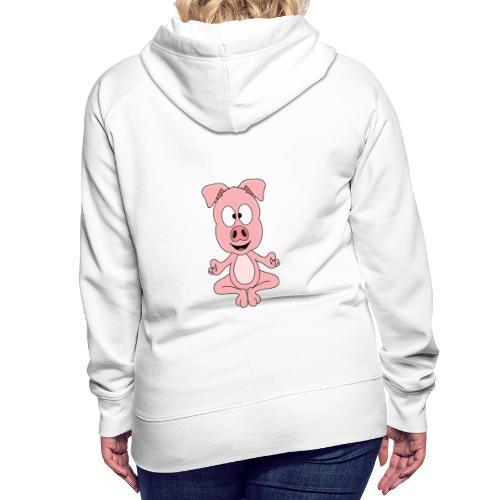 Lustiges Schwein - Yoga - Chill - Relax - Tier - Frauen Premium Hoodie