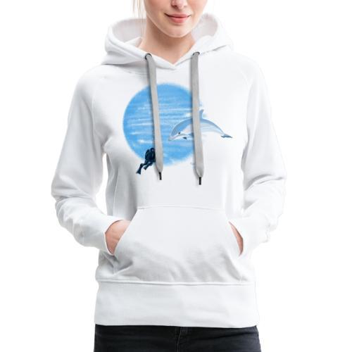 Dolphin and diver - Maillots - Sweat-shirt à capuche Premium pour femmes