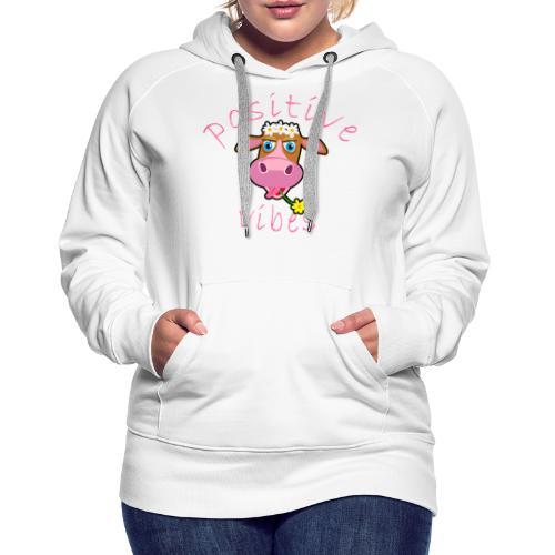positive cow pink - Felpa con cappuccio premium da donna