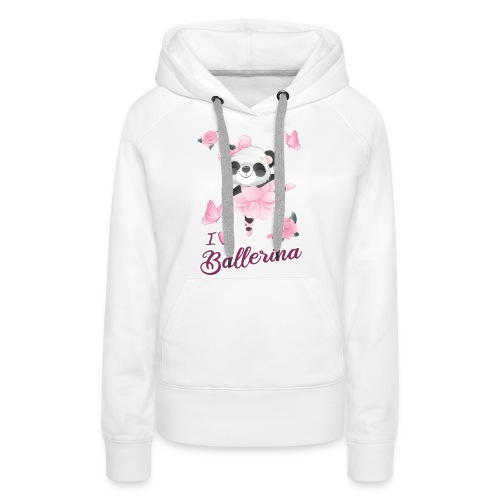 oso panda ballerina con mariposa y rosas - Sudadera con capucha premium para mujer