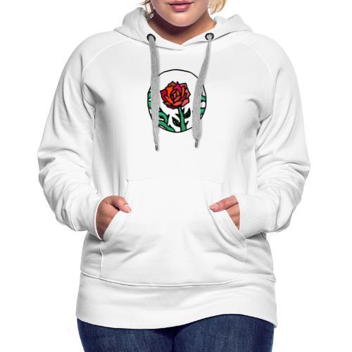 Rose Rouge Piquante en Médaillon - Sweat-shirt à capuche Premium pour femmes