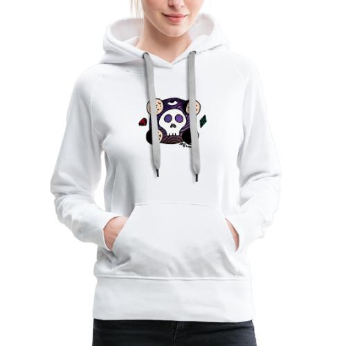 Crâne Lune des confins de l'Espace - Sweat-shirt à capuche Premium pour femmes