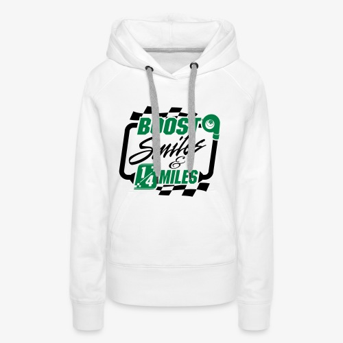 Boost Smiles & Quarter Miles Green & Black Print - Women's Premium Hoodie