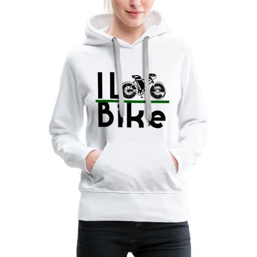 I love bike - Felpa con cappuccio premium da donna