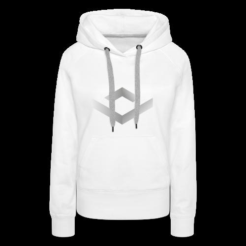 Black 3D Q-WHITE T-Shirt - Felpa con cappuccio premium da donna