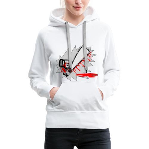 T shirt humeur tronçonneuse en sang votre texte FS - Sweat-shirt à capuche Premium pour femmes