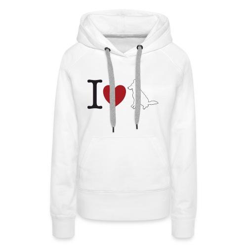 I LOVE White Dog - Bluza damska Premium z kapturem