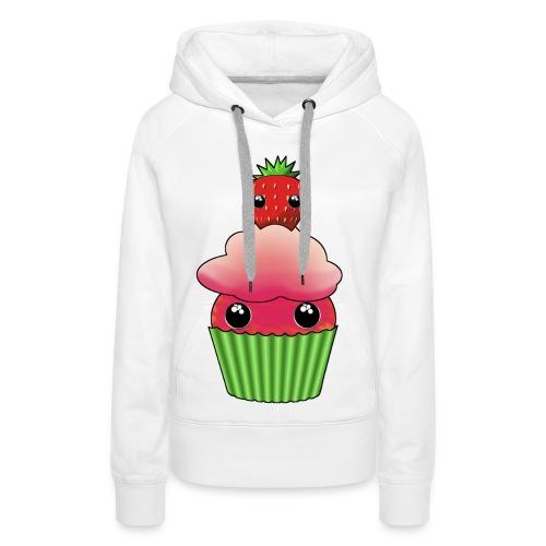 Kawaii cupcake with one strawberry - Premiumluvtröja dam