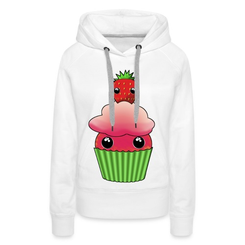 Kawaii cupcake with one strawberry - Premiumluvtröja dam