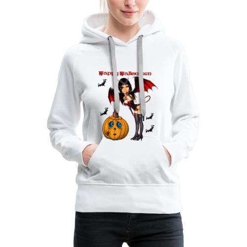 Happy Halloween Kürbis mit Fledermausgirl - Frauen Premium Hoodie
