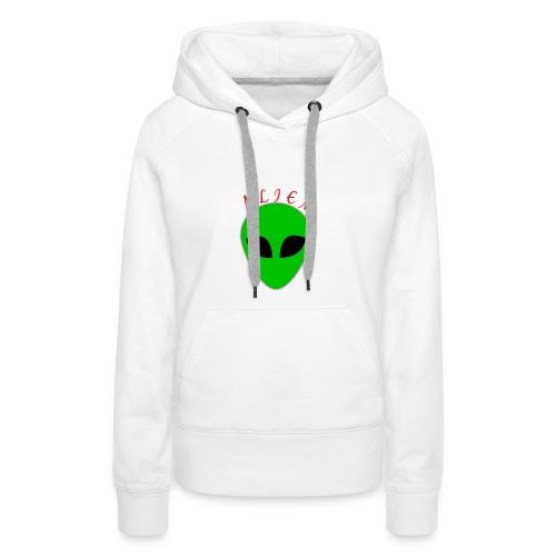Logo_Alien - Felpa con cappuccio premium da donna