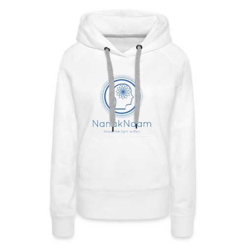 Nanak Naam Logo and Name - Blue - Women's Premium Hoodie