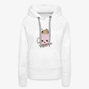 Cappuccino Kawaii - Sweat-shirt à capuche Premium pour femmes