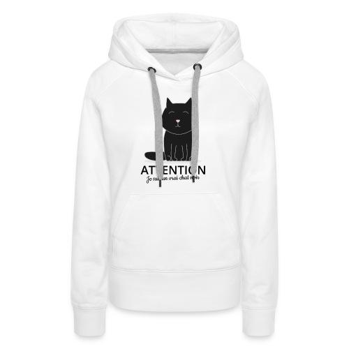 Chat noir - Sweat-shirt à capuche Premium pour femmes