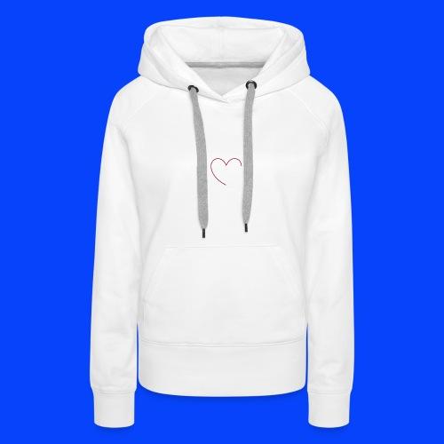 t-shirt bianca con cuore - Felpa con cappuccio premium da donna