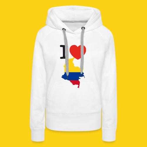 I love Colombia - Felpa con cappuccio premium da donna