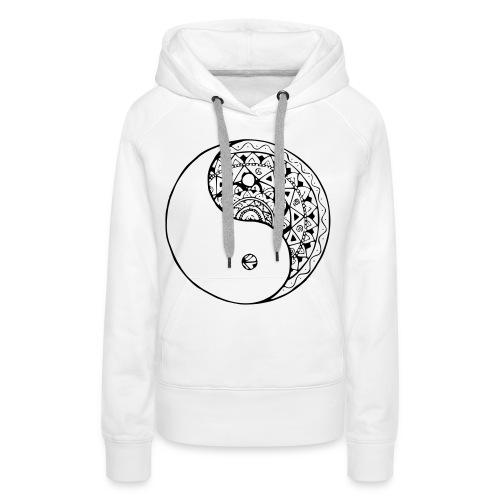 mandala yin yang - Sudadera con capucha premium para mujer
