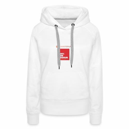 100% PUR CODEUR - CARRE ROUGE - Sweat-shirt à capuche Premium pour femmes