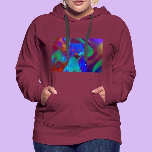 Gattino con effetti neon surreali - Felpa con cappuccio premium da donna