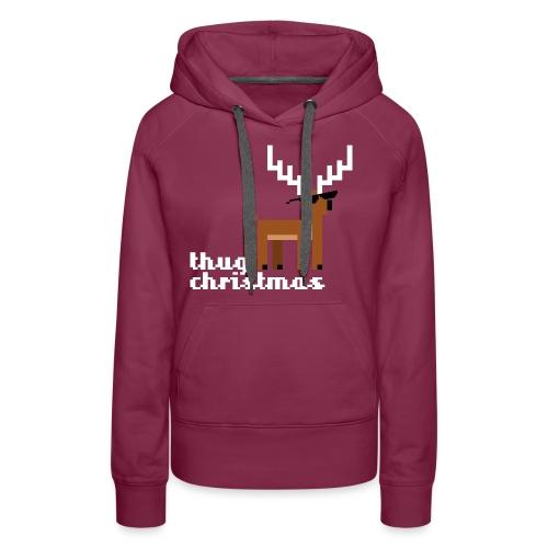 Christmas Xmas Deer Pixel Funny - Women's Premium Hoodie