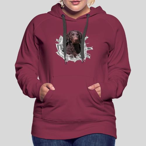 Curly Coated Liver im Glasloch - Frauen Premium Hoodie