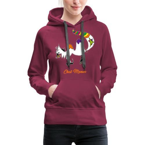 Chat Monux - Sweat-shirt à capuche Premium pour femmes