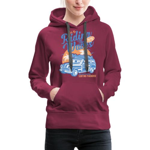 Surf Style T-shirt - Riding the Waves - Women's Premium Hoodie