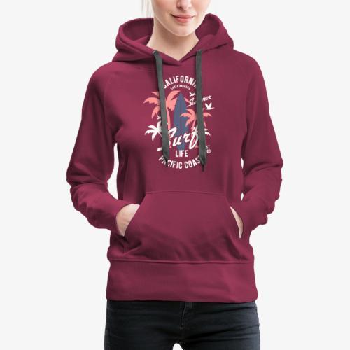 California Surf - Sweat-shirt à capuche Premium pour femmes