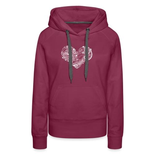 White Leaf Heart Mandala - Women's Premium Hoodie