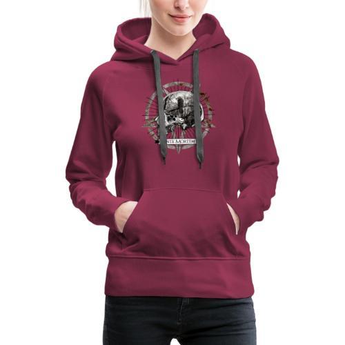 Ante Mortem Raven Skull - Felpa con cappuccio premium da donna