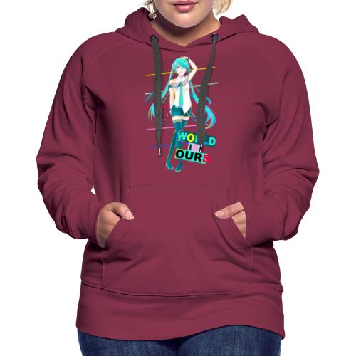Miku World Is Ours - Sudadera con capucha premium para mujer