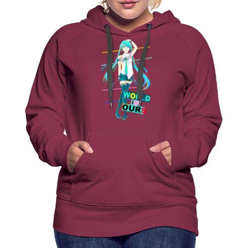 Miku World Is Ours - Sudadera con capucha premium para mujer
