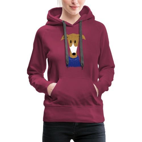 Windhund in blauem Pulli - Frauen Premium Hoodie