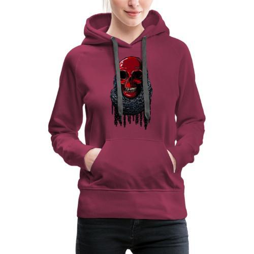 RED Skull in Chains - Women's Premium Hoodie