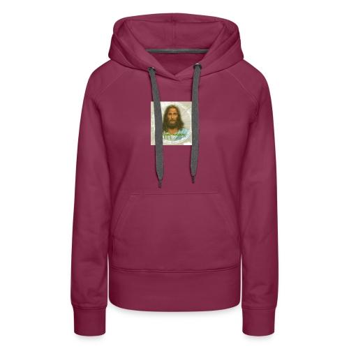 ROSTRO DE JESUS CON CODIGOS SAGRADOS - Sudadera con capucha premium para mujer
