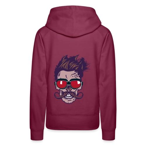 tete de mort hipster skull crane moustache lunette - Sweat-shirt à capuche Premium pour femmes