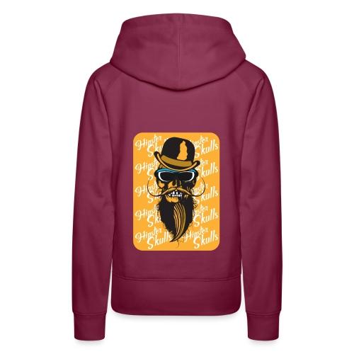 tete de mort crane hipster skull barbu moustache c - Sweat-shirt à capuche Premium pour femmes