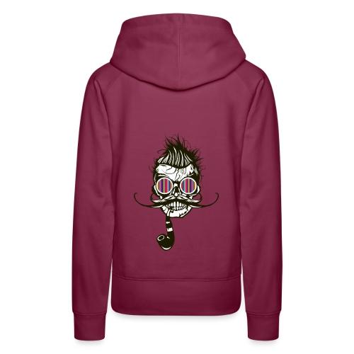 tete de mort hipster pipe crane skull coiffure pun - Sweat-shirt à capuche Premium pour femmes