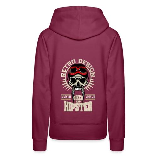 tete de mort hipster biker skull crane motard lune - Sweat-shirt à capuche Premium pour femmes