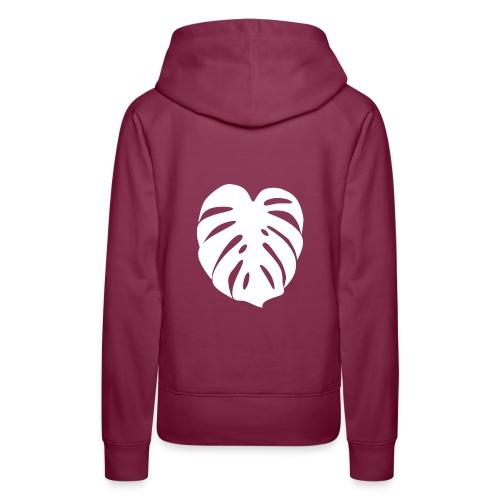 Monstera - Feuille blanche - Sweat-shirt à capuche Premium pour femmes
