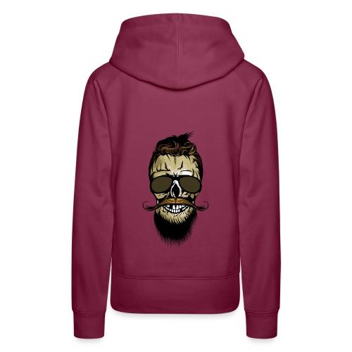 tete de mort hipster barbu barbe crane lunette de - Sweat-shirt à capuche Premium pour femmes