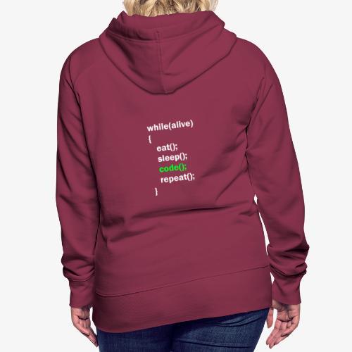 Programmer Eat Sleep Code Repeat - Felpa con cappuccio premium da donna