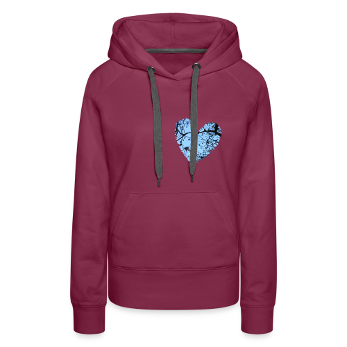 hart met boom takken en blauwe lucht, love t-shirt - Vrouwen Premium hoodie