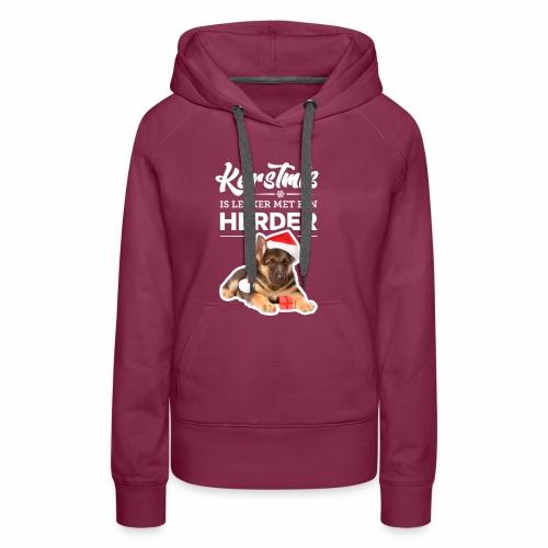Kerstmis is leuker met een herder! - Vrouwen Premium hoodie