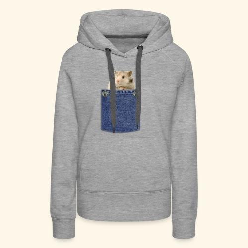 hamster in the poket - Felpa con cappuccio premium da donna