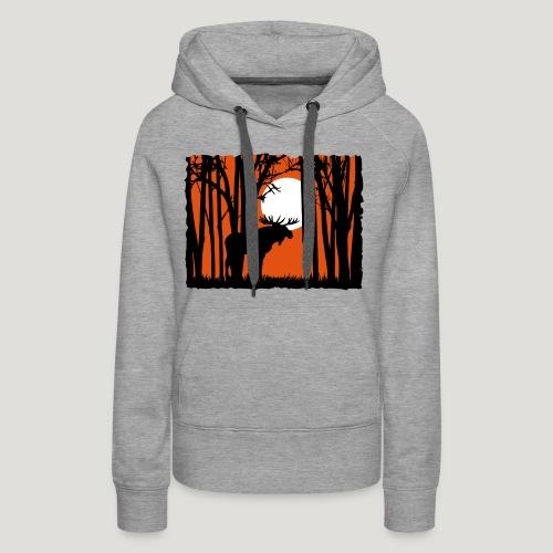 Sonnenuntergang, Elch im Wald, Moose in the woods - Frauen Premium Hoodie