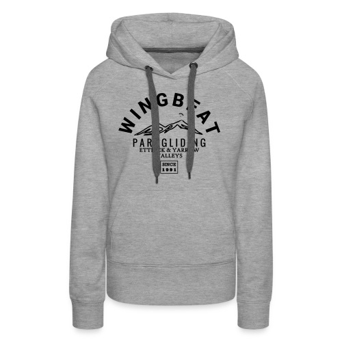 wingbeat logo - big - on back - in white - Women's Premium Hoodie