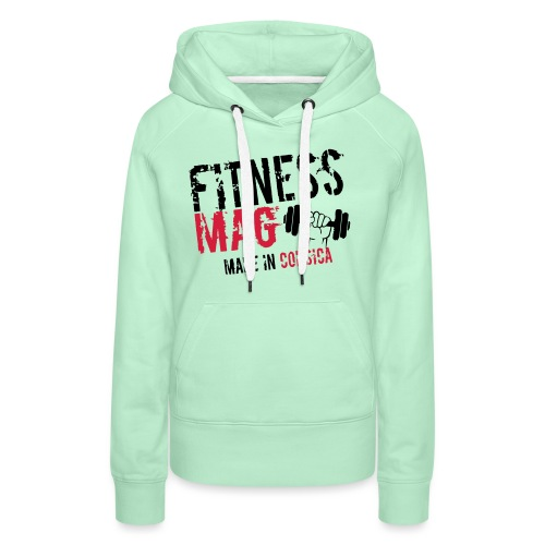 Fitness Mag made in corsica 100% Polyester - Sweat-shirt à capuche Premium pour femmes