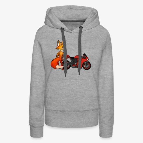renard moto - Sweat-shirt à capuche Premium pour femmes